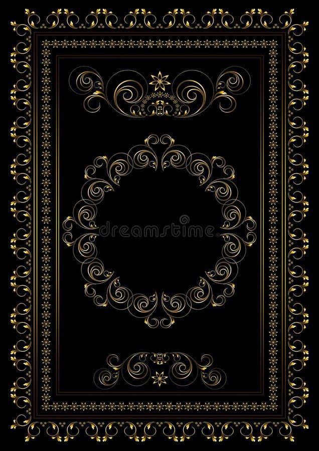 Marco del oro con las fronteras de tiras, de hojas y de estrellas que remolinan con el ornamento oval en el centro en un fondo ne fotografía de archivo libre de regalías