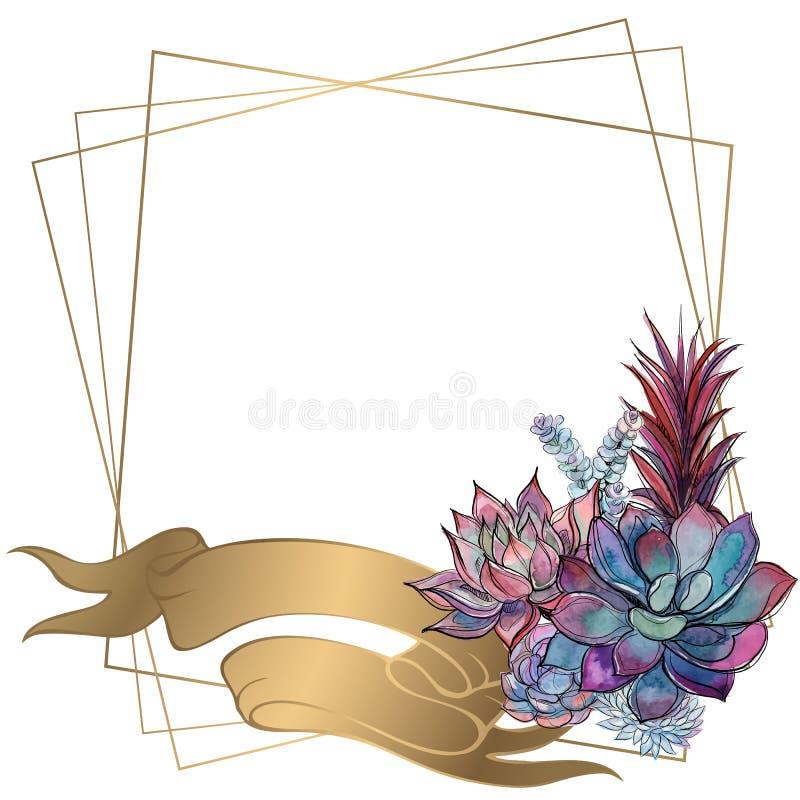 Marco del oro con un ramo de succulents Vector libre illustration