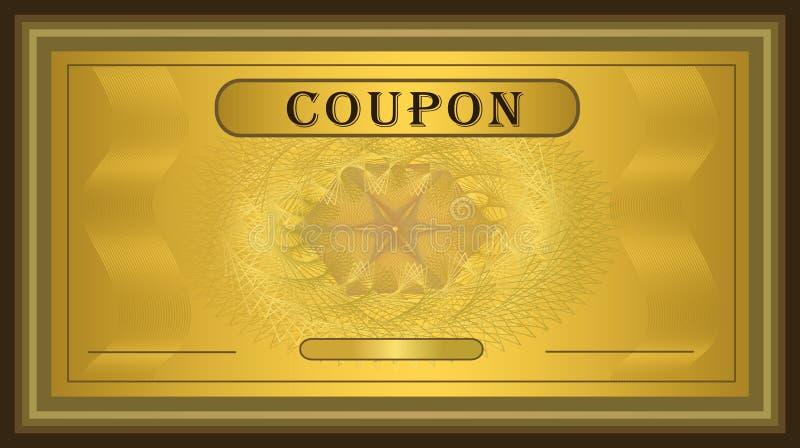 Marco del oro de la cupón stock de ilustración