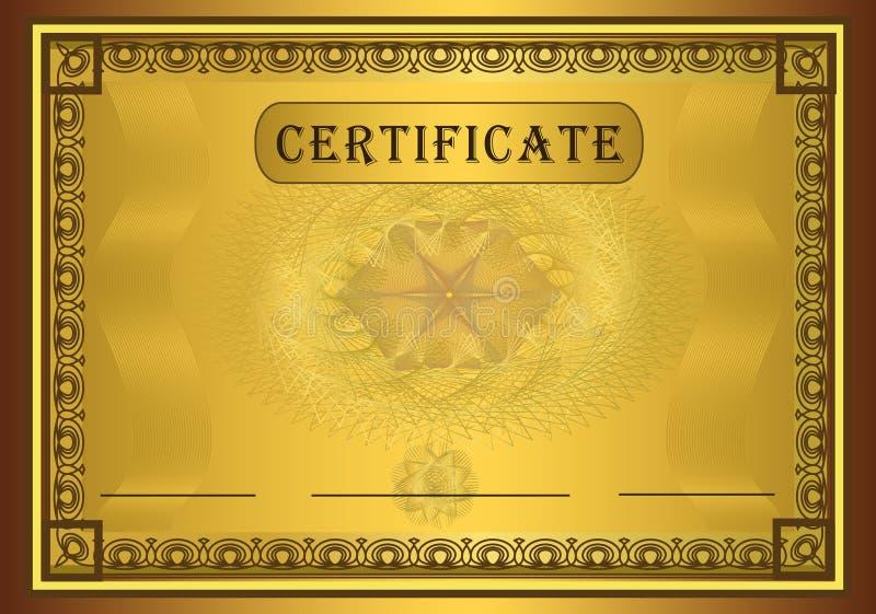 Marco del oro del certificado ilustración del vector