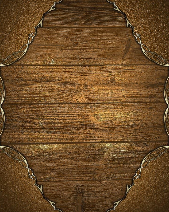 Marco del oro del Grunge con el fondo de madera Elemento para el diseño Plantilla para el diseño copie el espacio para el folleto libre illustration