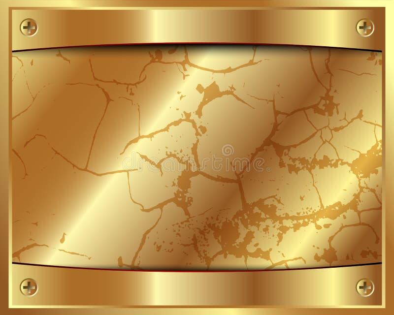 Marco Del Oro Del Metal Con Los Tornillos Ilustración del Vector ...