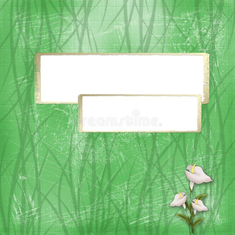 Marco del oro dos en el fondo abstracto verde ilustración del vector