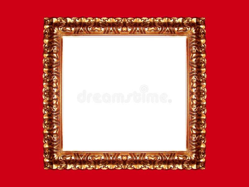 Marco del oro en fondo rojo fotos de archivo libres de regalías
