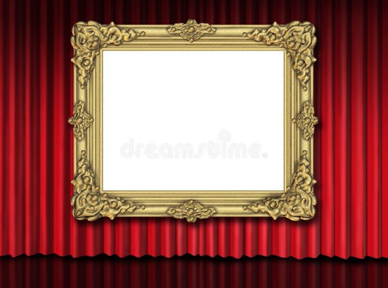 Marco del oro en la cortina roja del terciopelo stock de ilustración