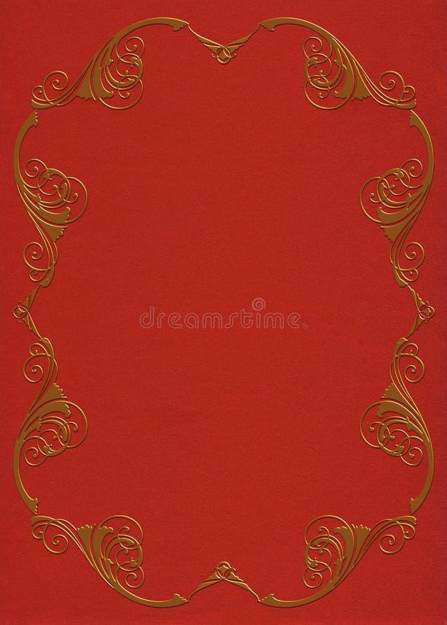 Marco del oro en la invitación del fieltro del rojo ilustración del vector