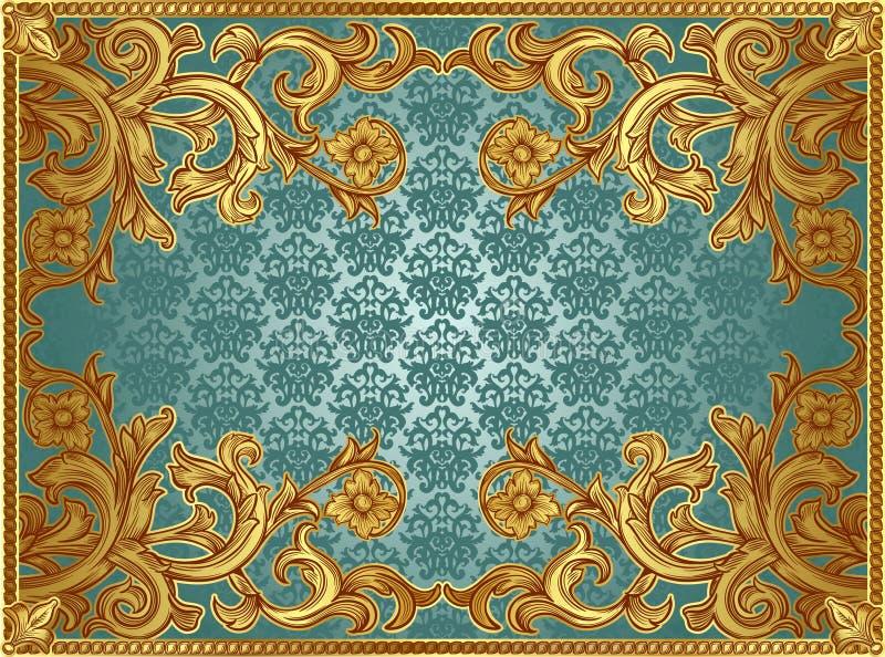Marco del oro en un fondo verde ilustración del vector