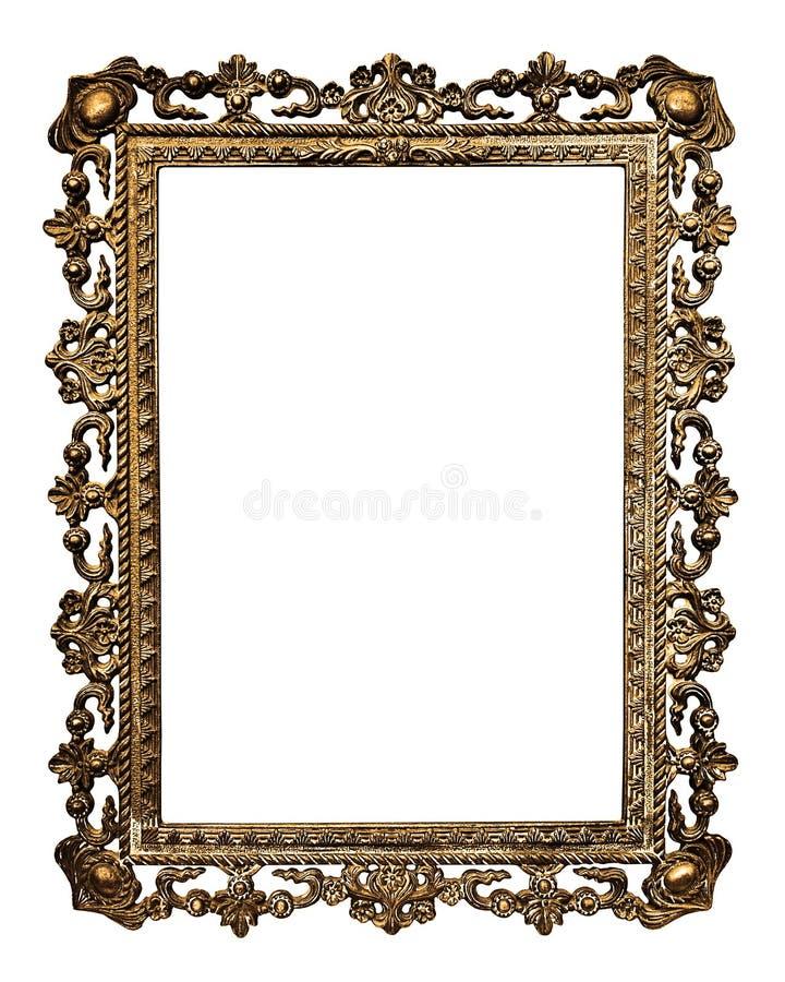 Marco del oro viejo, aislado en el fondo blanco imagen de archivo libre de regalías