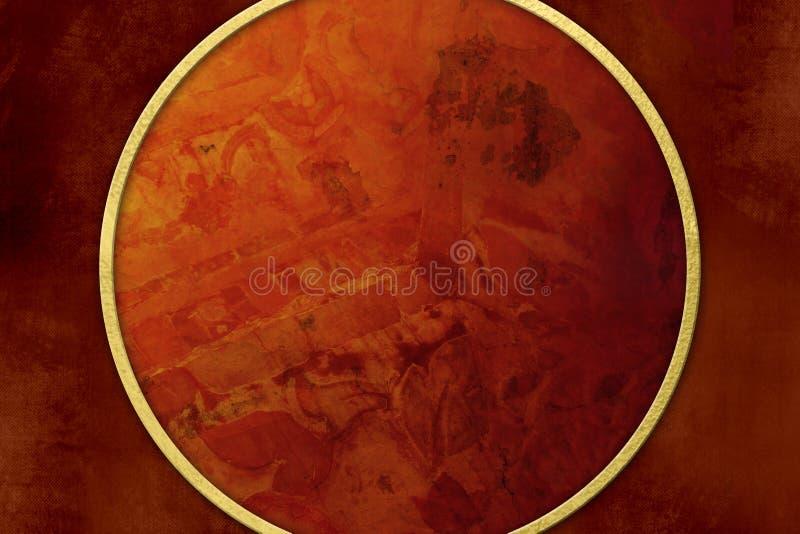 Fondo rojo del Grunge con el marco de oro ilustración del vector