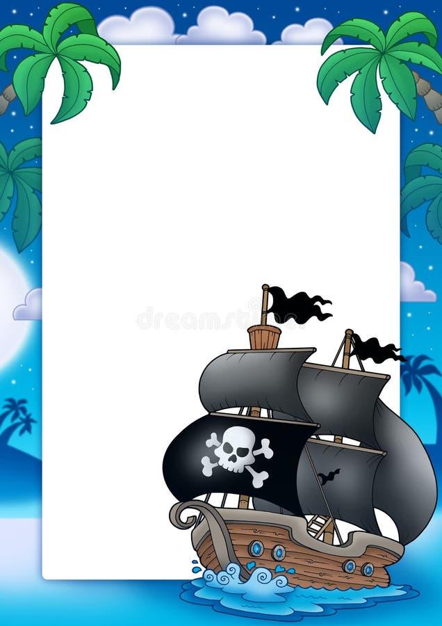 Marco del pirata con el barco de vela en la noche ilustración del vector