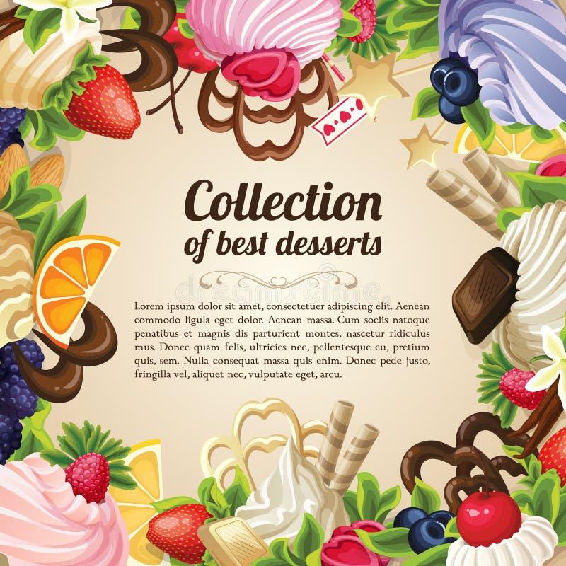 Marco del postre de los dulces ilustración del vector