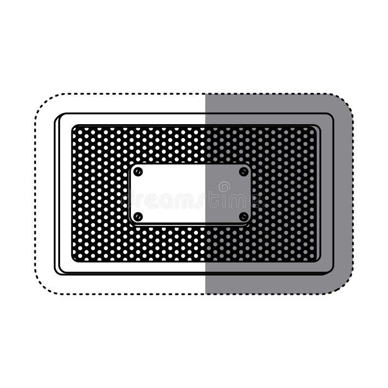 marco del rectángulo de la silueta de la etiqueta engomada metálico con la parrilla perforada y la placa stock de ilustración
