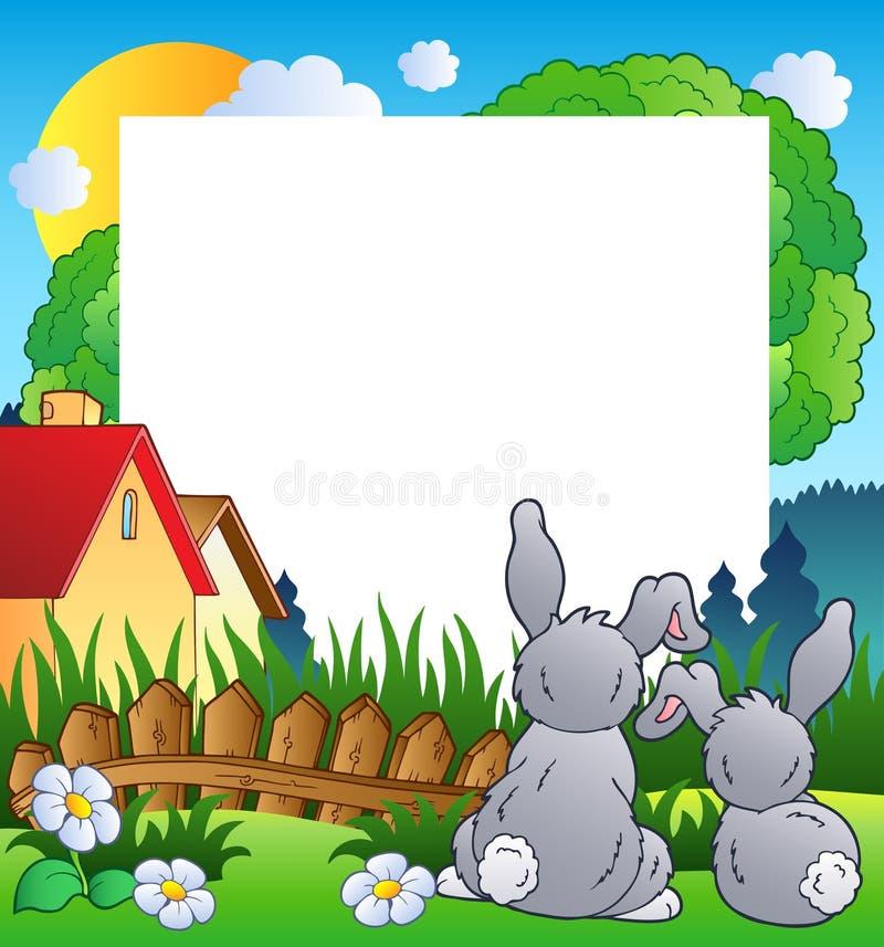 Marco Del Resorte Con Dos Conejos Ilustración del Vector ...