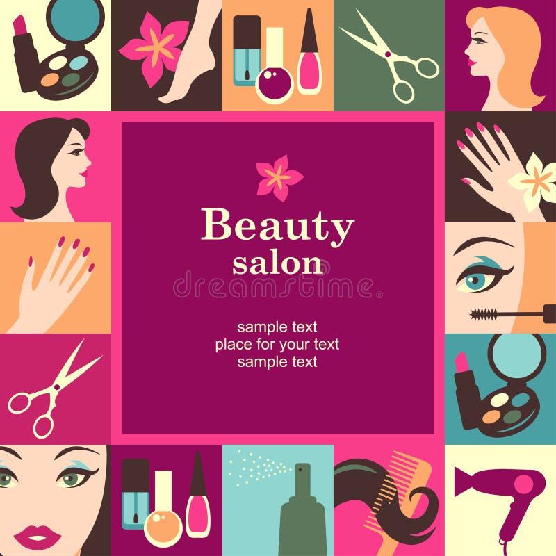 Marco del salón de belleza stock de ilustración