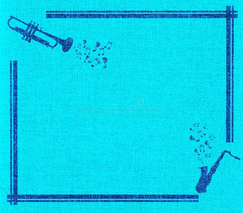 Marco del saxofón y de la trompeta en lona azul libre illustration