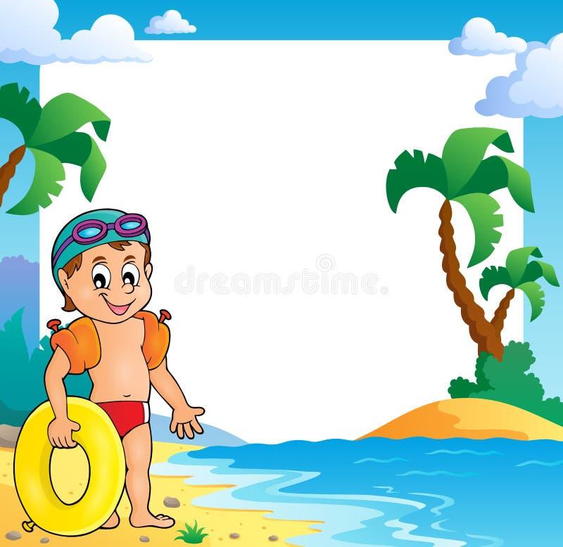 Marco del tema de la playa con el pequeño nadador ilustración del vector