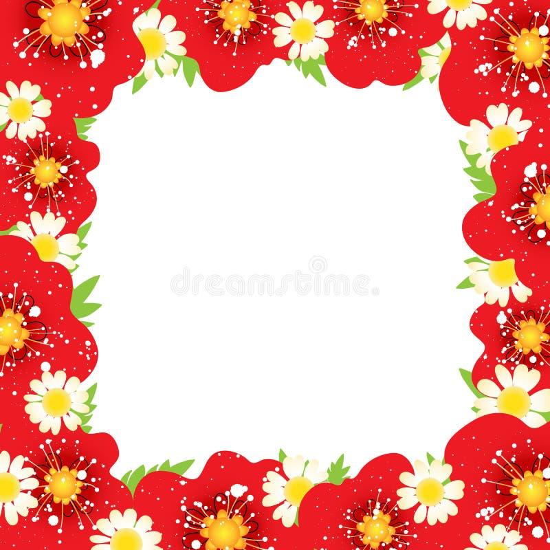 Marco Del Vector Con Las Flores Rojas De La Amapola Diseño Del ...
