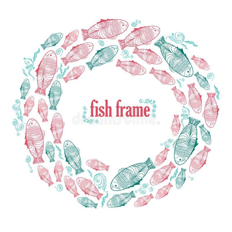 Marco del vector con los pescados verdes y rojos del drenaje de la mano stock de ilustración