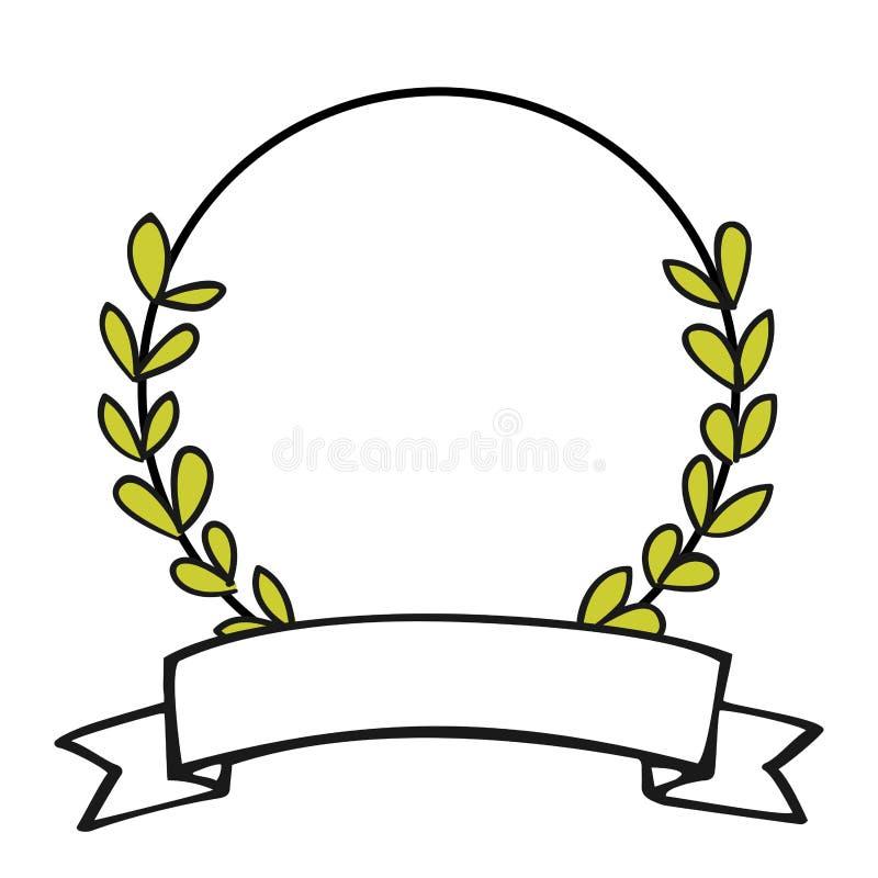 Marco del vector de la guirnalda del laurel aislado en el fondo blanco ilustración del vector