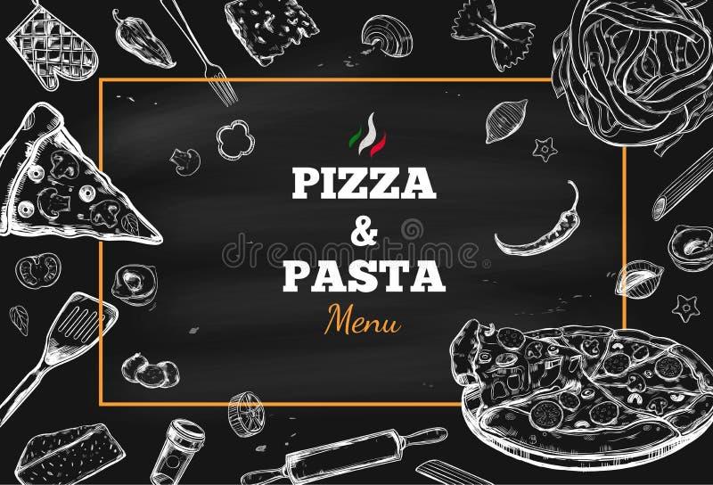Marco 1 del vector de la pizza y de las pastas libre illustration