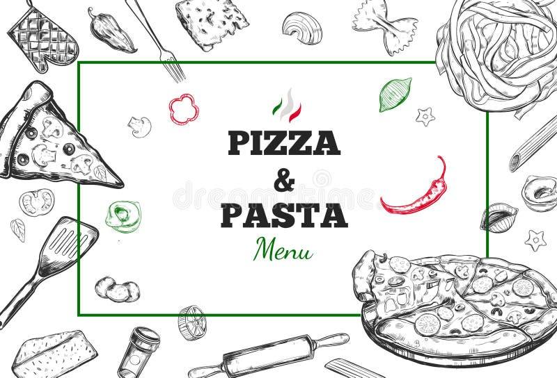 Marco del vector de la pizza y de las pastas libre illustration