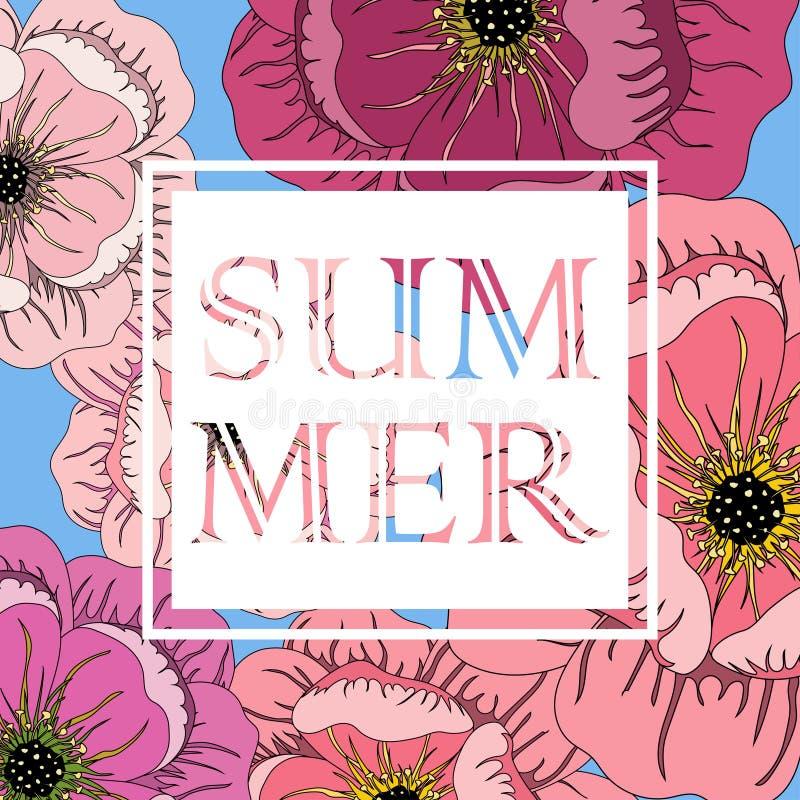 Marco del verano con las flores y lema stock de ilustración