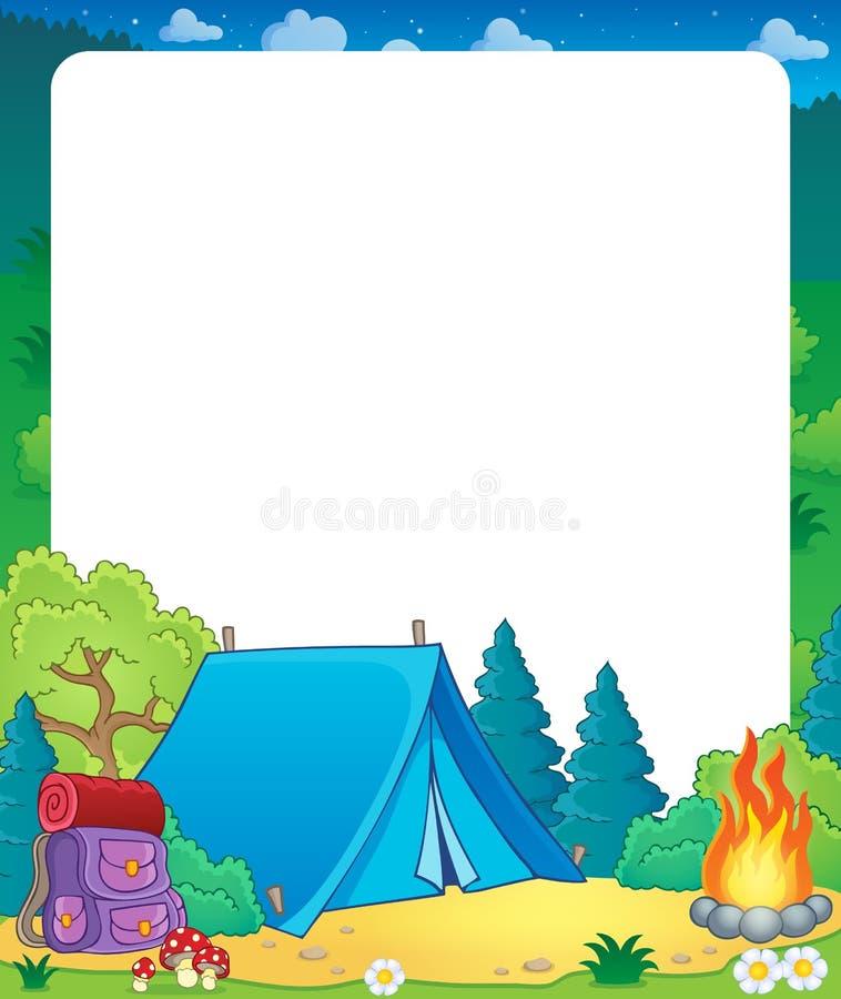 Marco del verano con tema del camping ilustración del vector