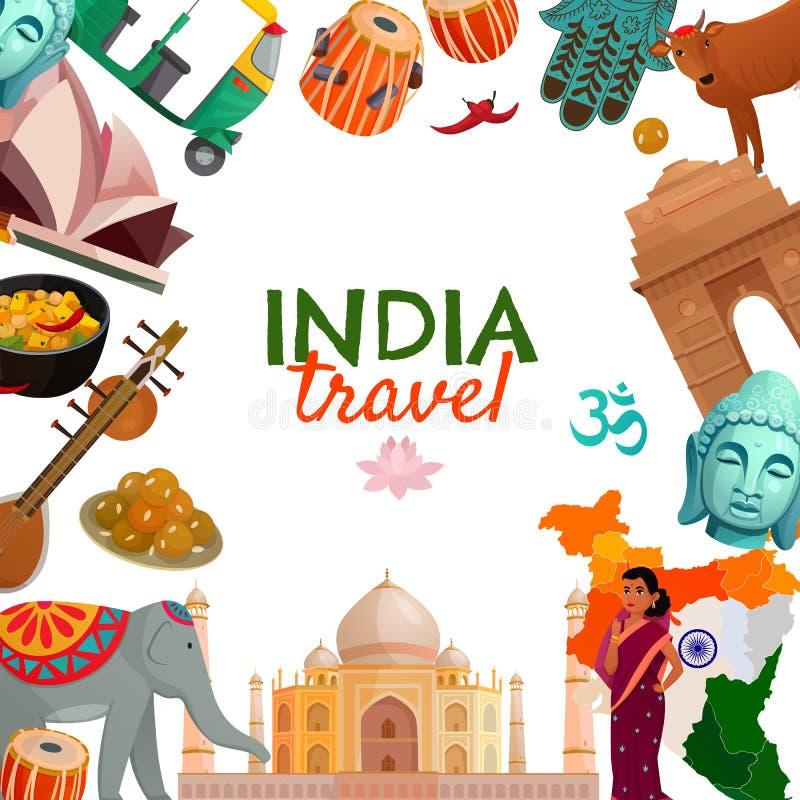 Marco del viaje de la India stock de ilustración
