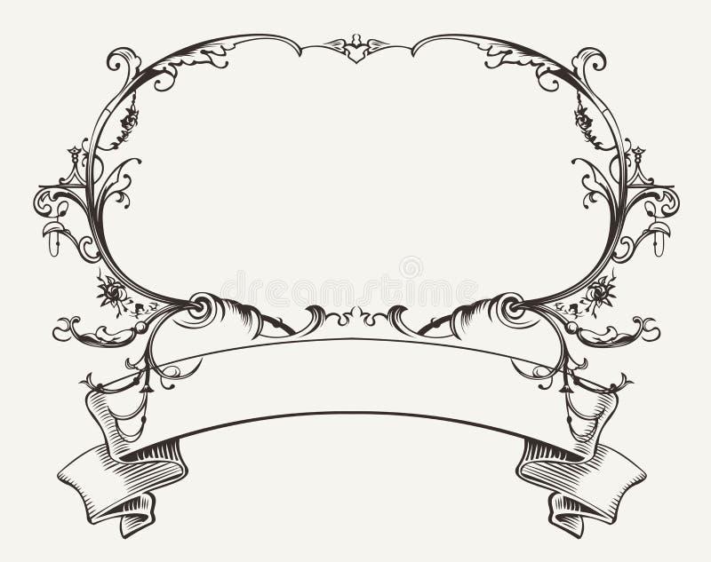 Marco del vintage con el ornamento floral stock de ilustración