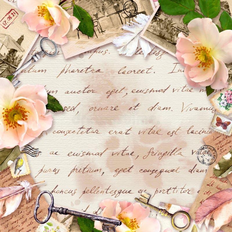 Marco del vintage, dise?o retro, papel viejo, flores de las rosas, notas, plumas de la acuarela, llaves Tarjeta con el espacio va ilustración del vector
