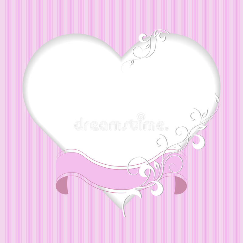 Marco del vintage en forma de un corazón con el modelo de la cinta y de la planta en fondo rosado stock de ilustración