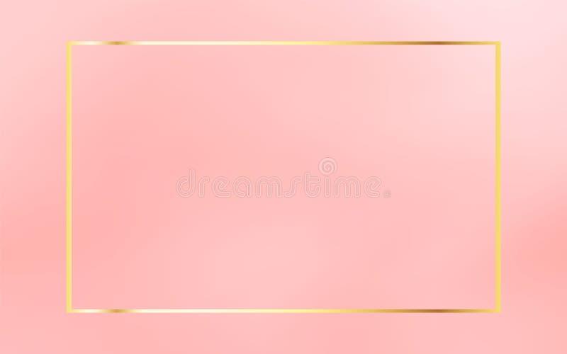 Marco del vintage del oro aislado en el fondo rosado coralino Elemento lujoso de la plantilla ilustración del vector