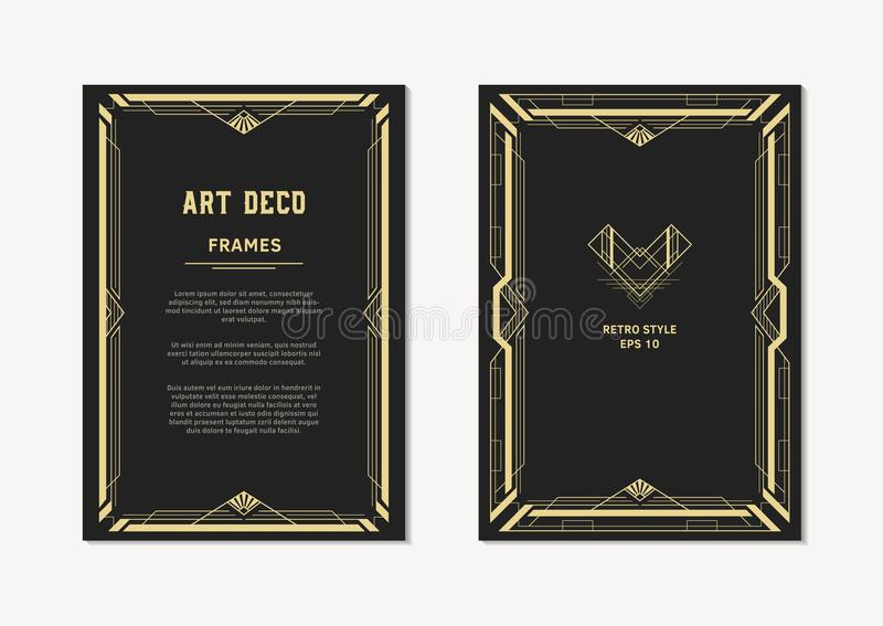 Marco del vintage del oro de Art Deco para las invitaciones y las tarjetas fotografía de archivo libre de regalías