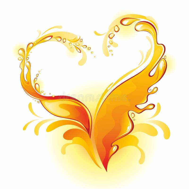 Marco del zumo de naranja bajo la forma de corazón. ilustración del vector