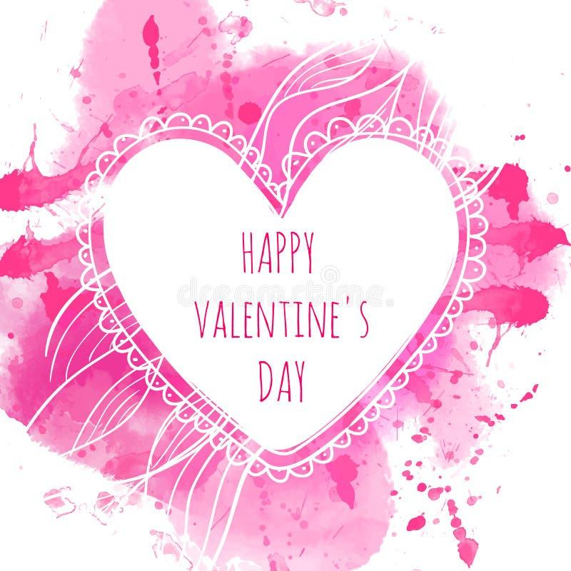 Marco dibujado mano blanca del corazón Fondo rosado del chapoteo de la acuarela Concepto de diseño artístico para casarse invitac stock de ilustración