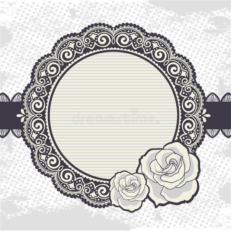 Marco elegante del cordón del vintage con las rosas stock de ilustración