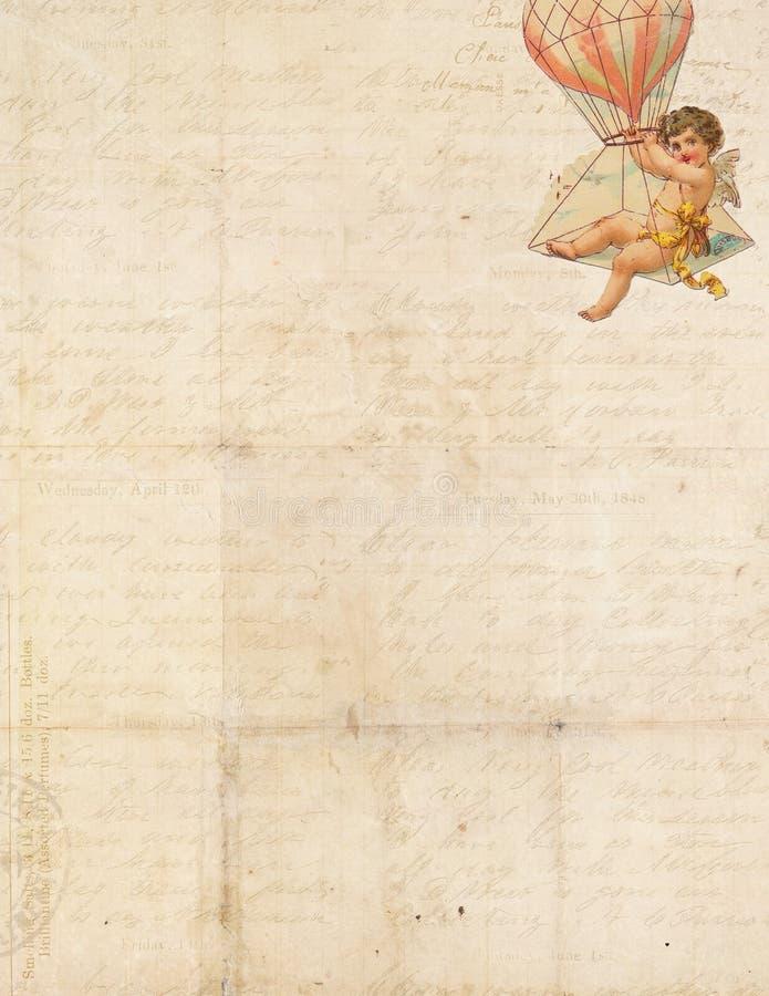Marco elegante lamentable dulce con el cupid y el globo ilustración del vector