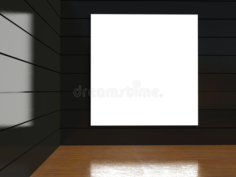 marco en blanco 3d en interior vacío stock de ilustración