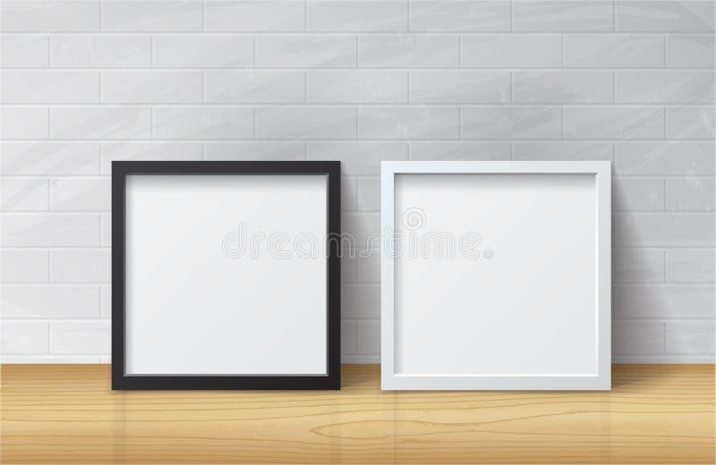 Marco en blanco blanco y negro realista del cuadrado de la imagen, o derecho stock de ilustración