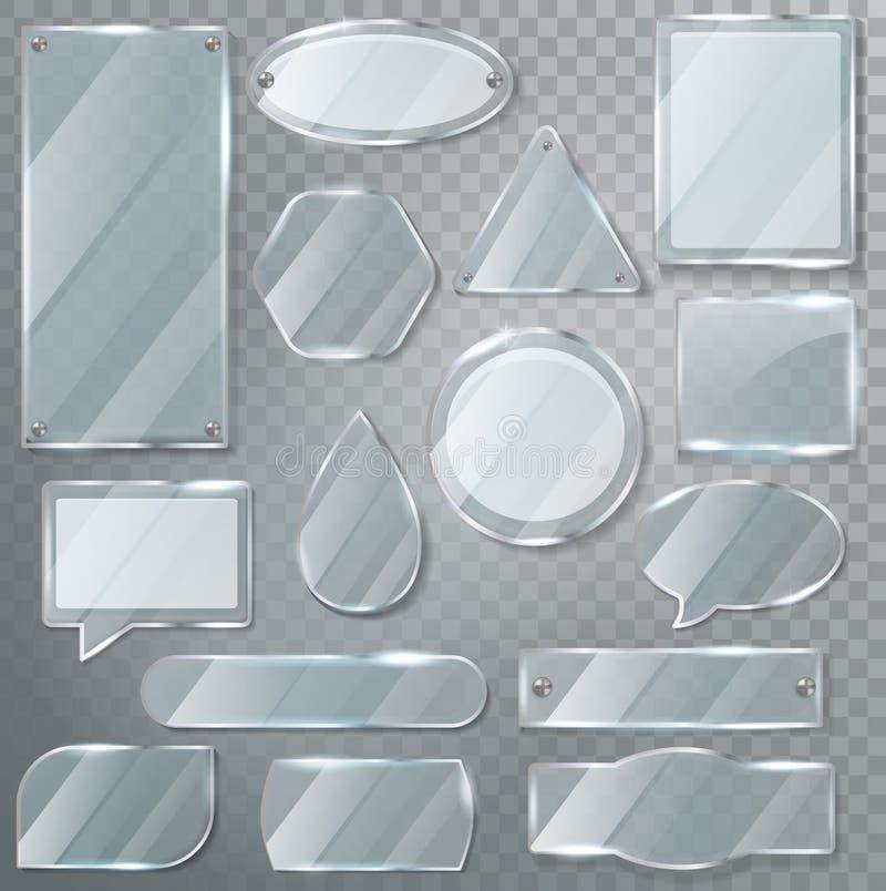 Marco en blanco claro brillante de la transparencia de cristal del vector y sistema vacío realista de la cristalería del ejemplo  libre illustration