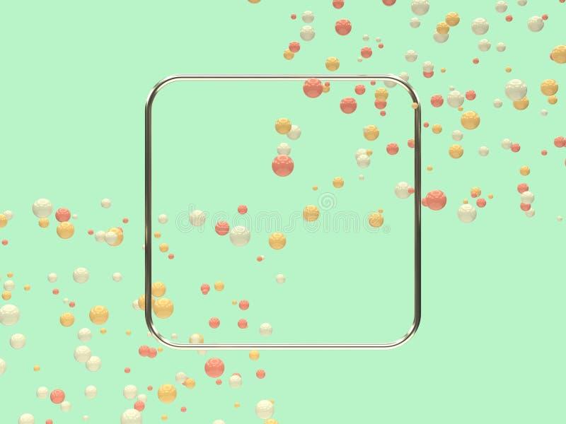 Marco en blanco de la forma geométrica mucho levitación amarilla blanca rosada 3d de la bola/de la esfera que rinde el fondo abst stock de ilustración
