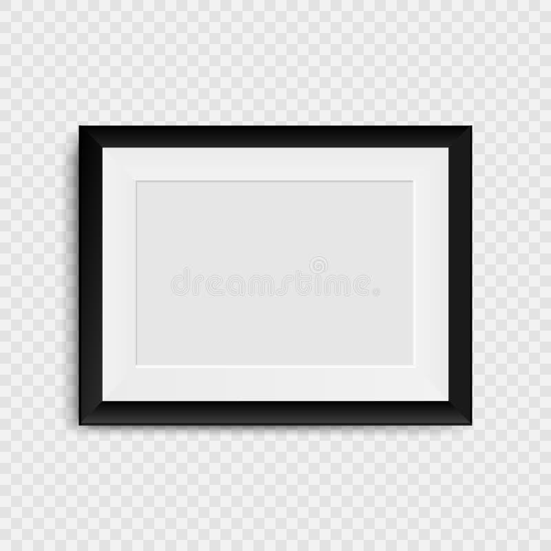 Marco en blanco de la foto en la pared Marco en blanco realista libre illustration
