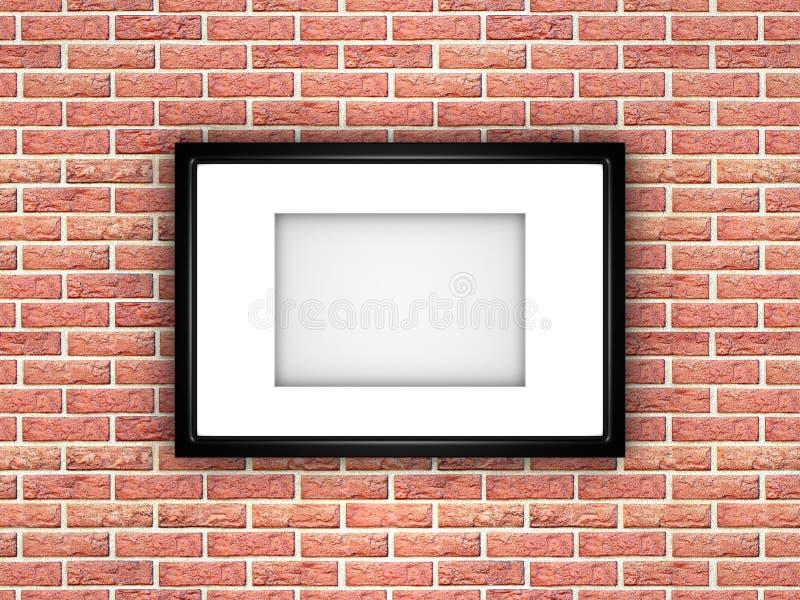 Marco en blanco de la imagen o de la foto en fondo de la pared de ladrillo ilustración del vector