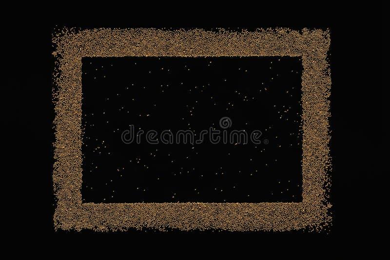 Marco en blanco de oro en un fondo negro imágenes de archivo libres de regalías
