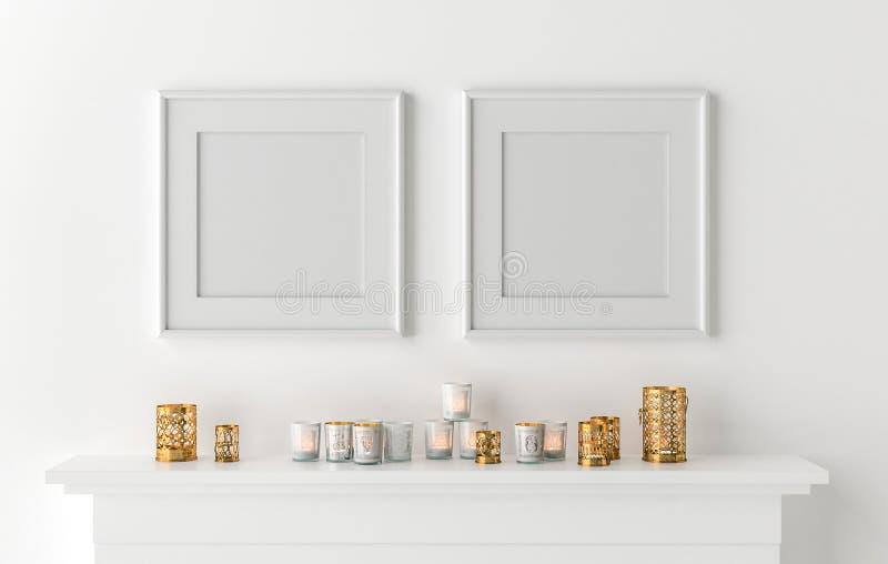 Marco en blanco dos con las velas en la chimenea ilustración del vector