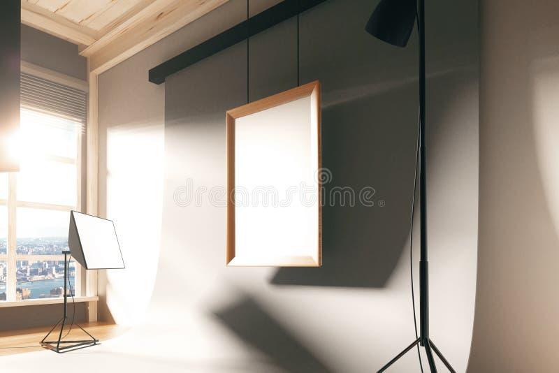 Marco en blanco en estudio vacío de la foto con el equipo libre illustration