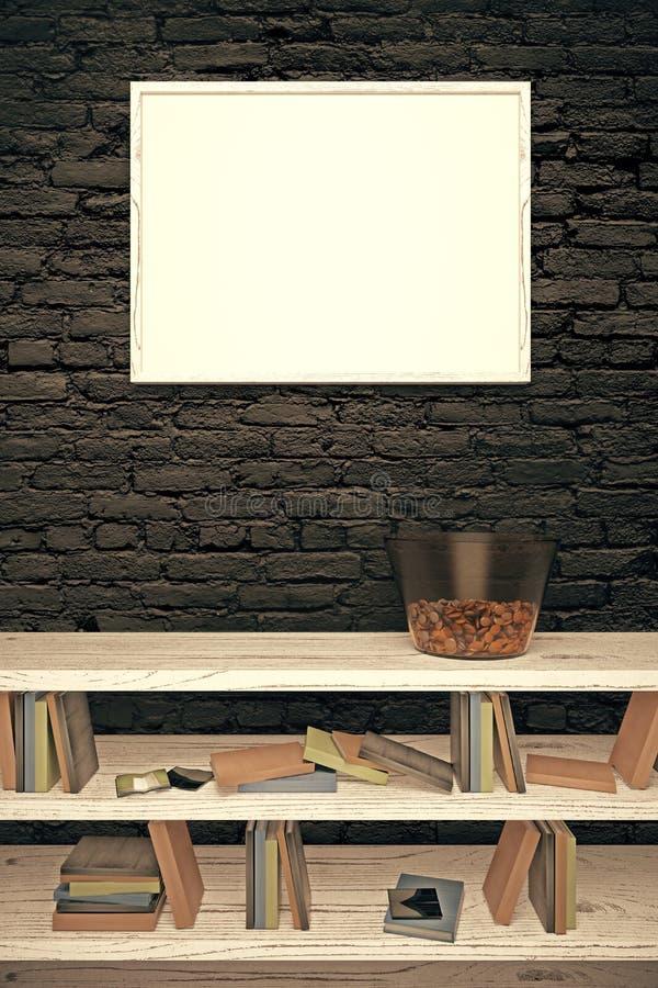Marco en blanco en la pared de ladrillo negra libre illustration