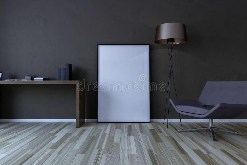 Marco en blanco en la pared en la sala de estar libre illustration