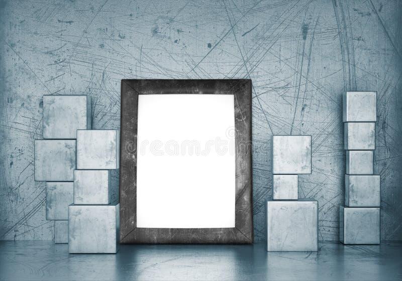 Marco en blanco en sitio vacío con los cubos del metal stock de ilustración