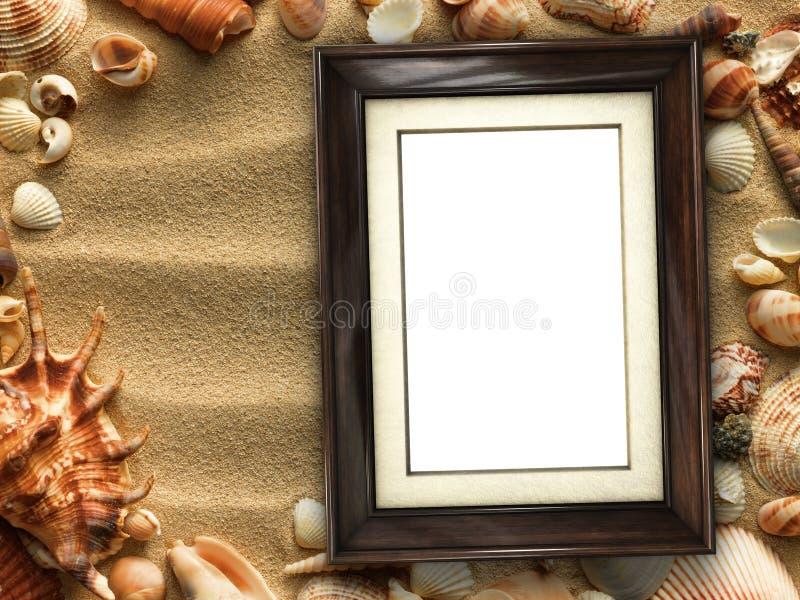Marco en cáscaras y fondo de la arena imagenes de archivo